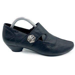 Josef Seibel Black Leather Heel Ankle Boots